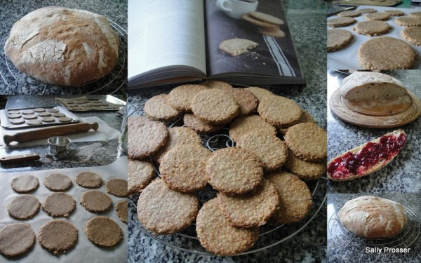 Homemade bread and digestive biscuits