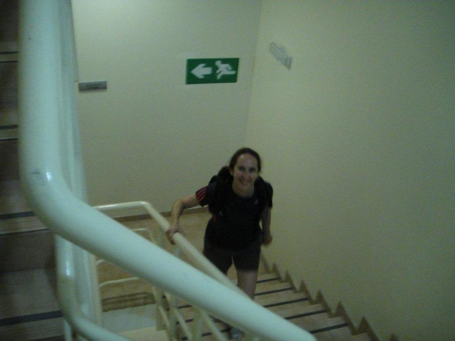 Me climbing up the stairs
