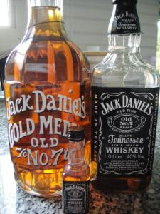 Thrre bottles of Jack Daniels