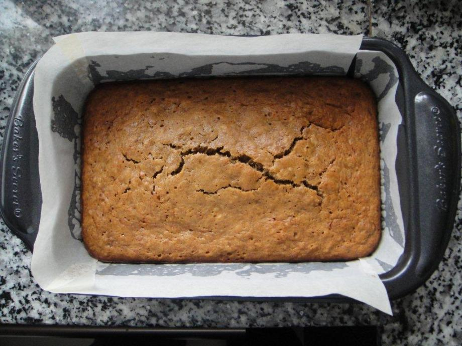Banana bread taken out of oven.