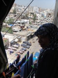 Amal on her balcony