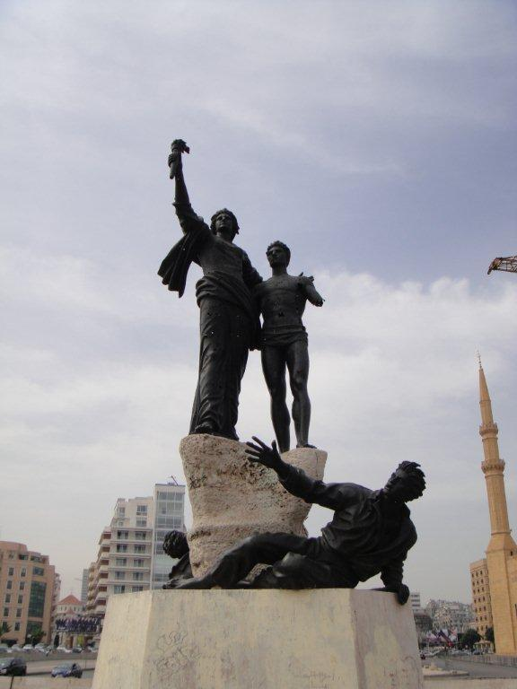 Statue with bullet holes
