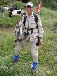 Chamoun holding a goat