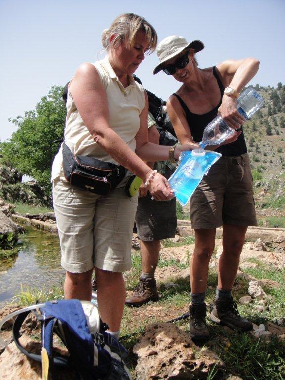 Filling the hydration packs