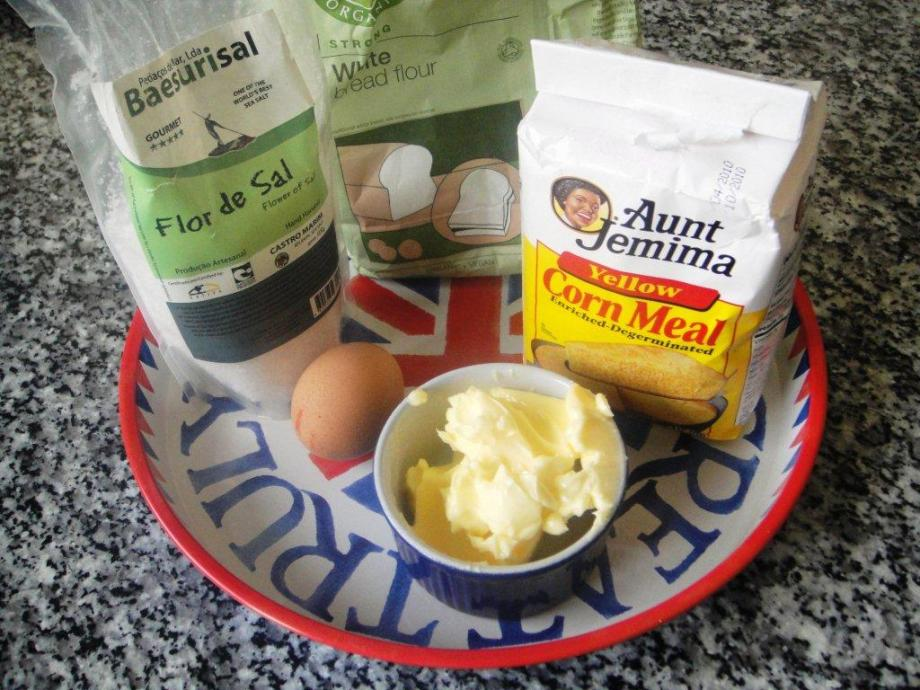 Cornmeal, salt, flour, eggs and butter