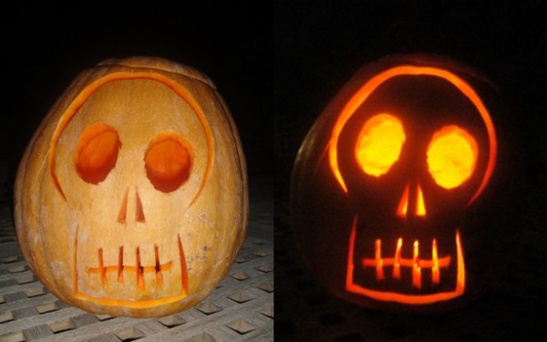 Carved Halloween pumpkin skull effect