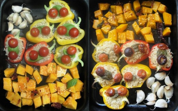 Peppers, garlic and pumpkin before and after cooking