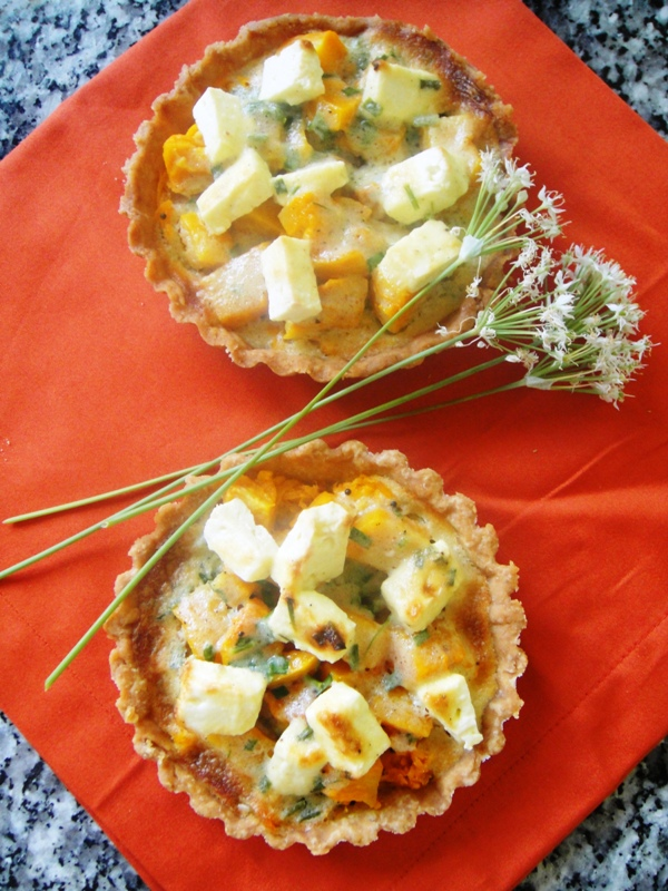 Butternut and feta tartlets with garlic chives