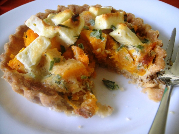 Butternut and feta tartlets
