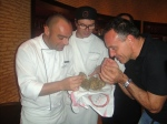 Truffle-hunter Carlo and the Ronda Locatelli chefs smell truffle
