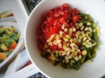 Chopped tomatoes, peppers and preserved lemons