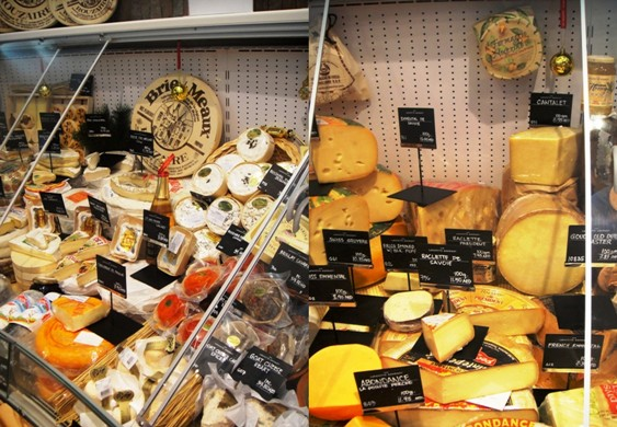 Part of the cheese display at Lafayette Gourmet Dubai