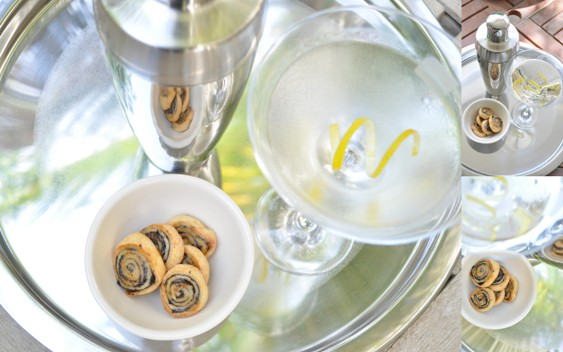 Black olive swirls and a martini