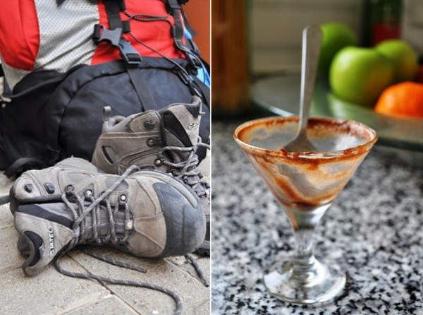 Chocolate mousse and hiking boots