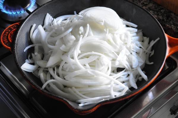 White onions in a pan