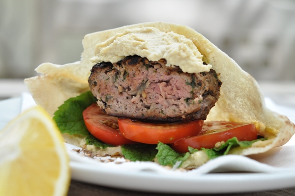 Lamb burger with mint