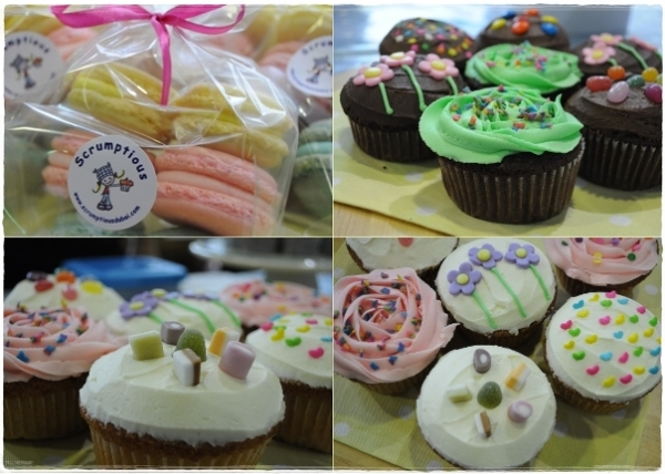 Cup cakes and macarons