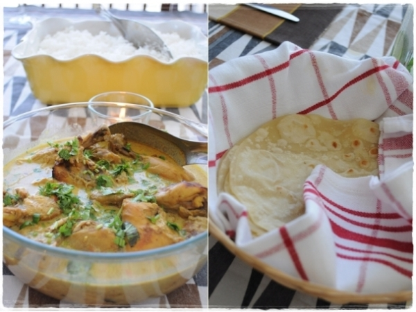 Chicken curry and bread