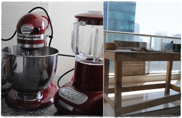 KitchenAid and painting table