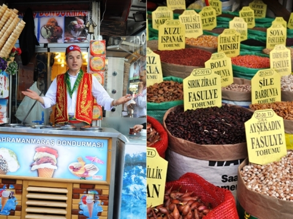 Ice cream seller and goods in the spice souk