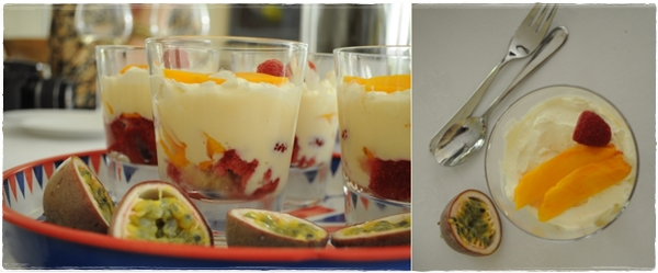 Mango and raspberry trifle