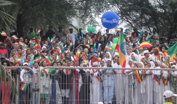 Supporters at the Dubai Marathon