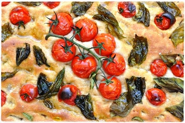 Tomato and basil focaccia