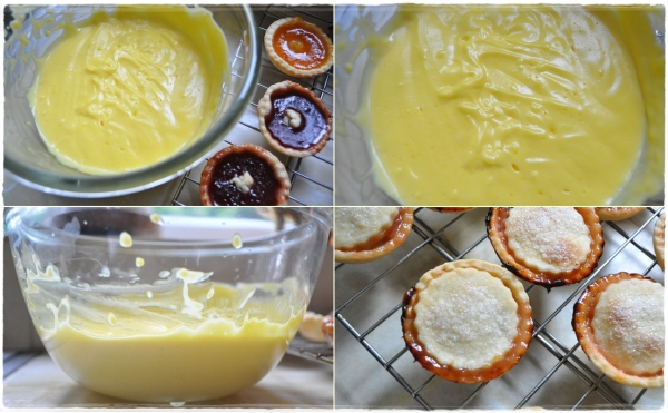 Rhubarb tarts and homemade custard
