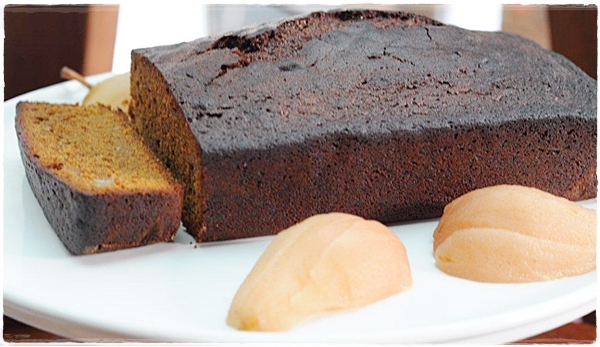 Gingerbread and poached pears