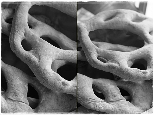 Fougasse close up in black and white