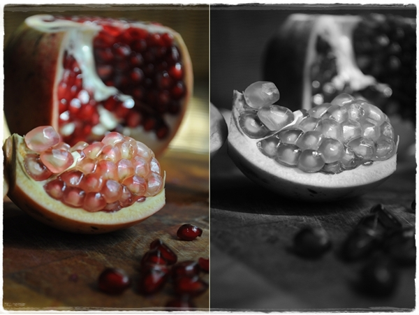 Pomegranates in colour and monochrome