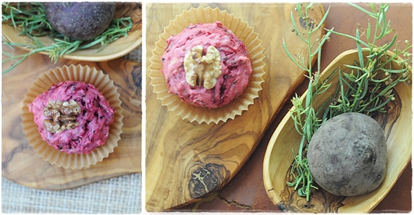 Beetroot and walnut muffins