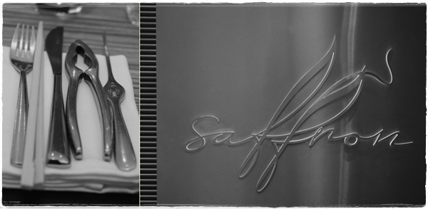 Saffron sign and crab-eating cutlery