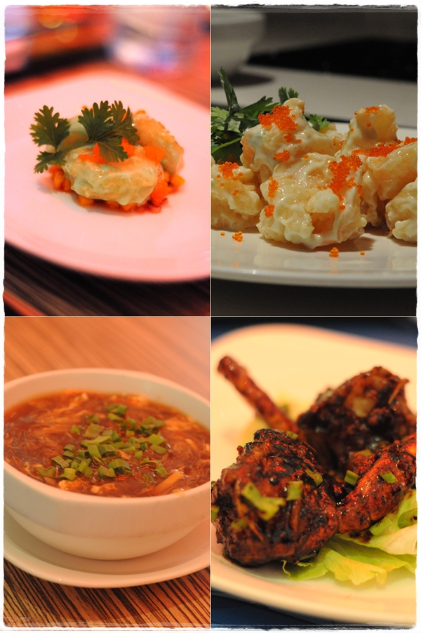 Wasabi prawns, hot and sour soup, black pepper crab