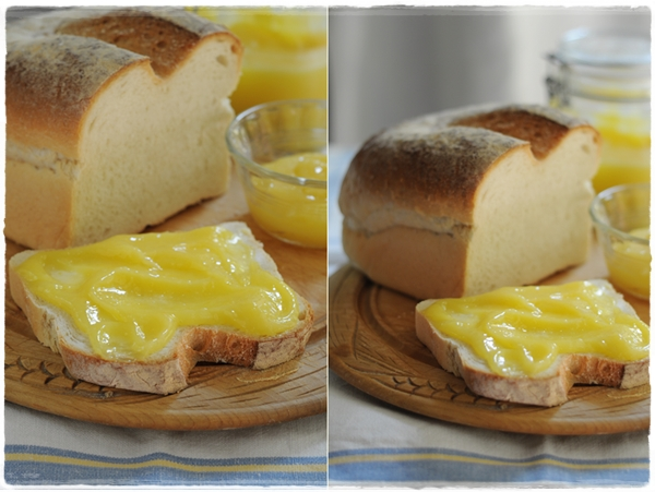 Lemon curd on bread