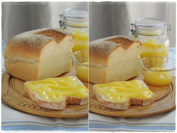 Lemon curd on fresh bread