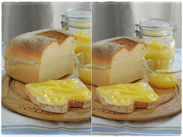 Lemon curd on fresh bread