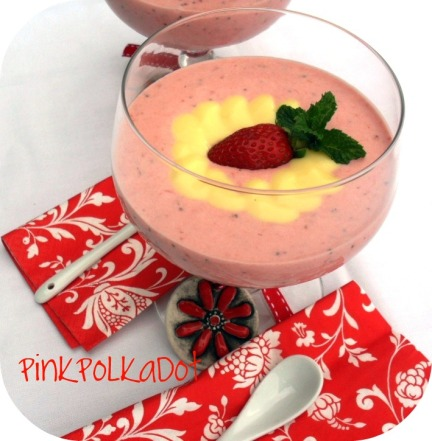 Strawberry soup with custard - Pink Polkadot food
