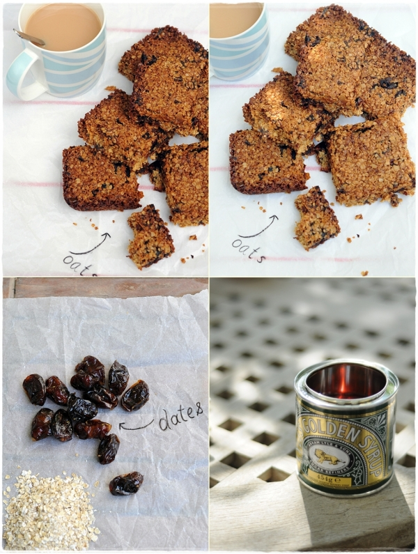 Date flapjacks and ingredients