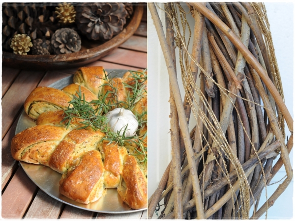 Festive wreath garlic herb bread