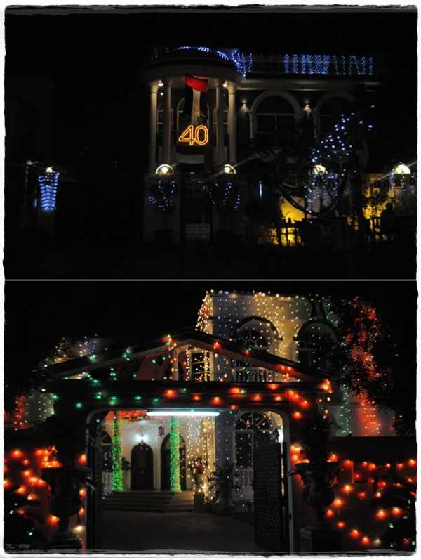 Decorated houses at night