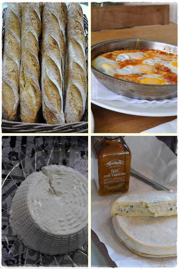 Bread, cheese, shakshuka