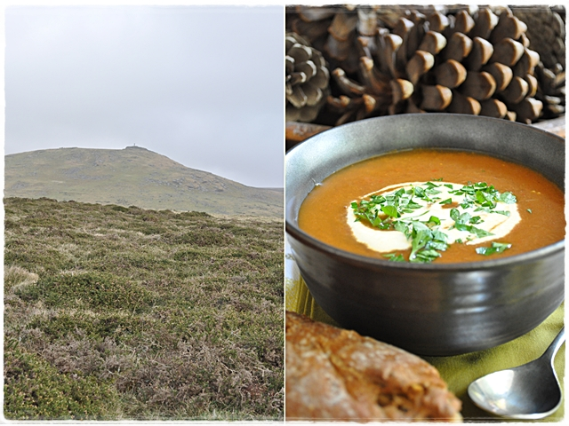 Goulash soup and a view of Brat Tor, Dartmoor