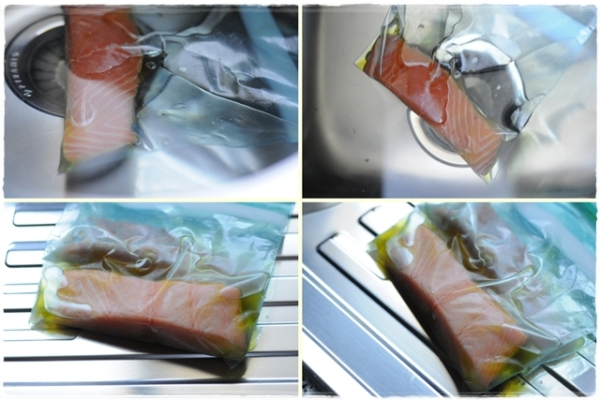 Salmon cooked in the sink, before and after