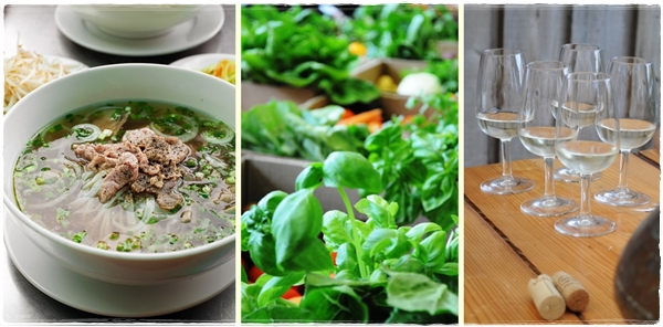Vietnamese food, local veg, light wine