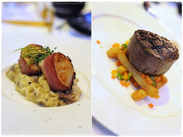 Scallops on risotto and Aberdeen Angus