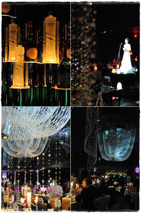 Cavalli Club Dubai interior with opera singer and vodka