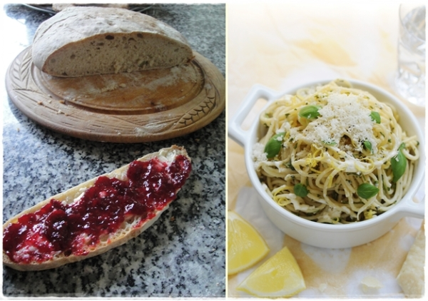 A loaf with jam and lemon, herb pasta