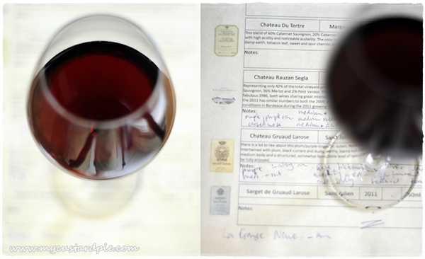Red wine and wine notes