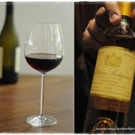 Red wine and a bottle of Sauternes